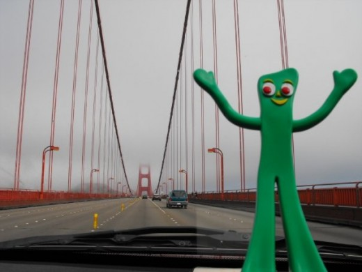 Here's Gumby acting like he owns the Golden Gate Bridge