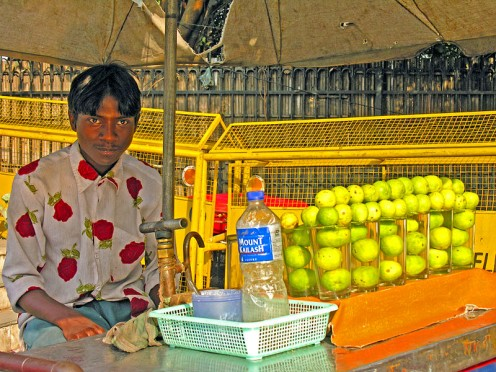 Lemonade/lime stand - When leaving the Red Fort there was a person selling lime water, a very popular drink in India.
