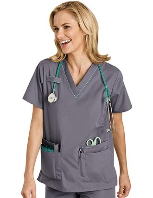 Landau Uniform Updated Style for 8219 Women Scrub Top with Piping - 4 Pockets