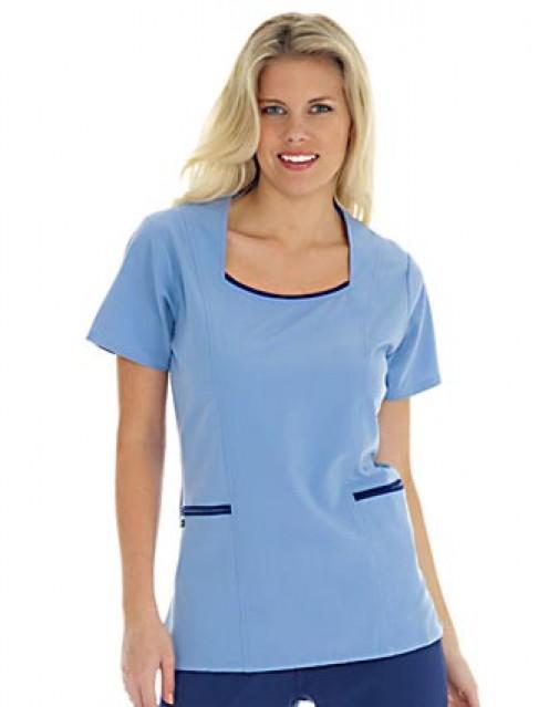 Jockey Scrubs Women Banded Scoop Neck Nurses' Scrub Top - 2 Welt Pockets