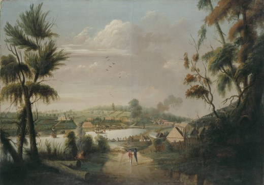 A Direct North General view of Sydney Cove by Thomas Watling, 1749 from commons.wikimedia.org