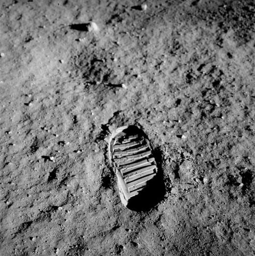 Bootprint of Apollo 11 LM Pilot Buzz Aldrin.