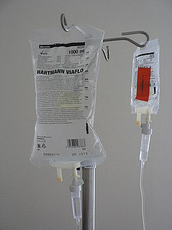 The drips I had attached to me were a saline solution and sustenance while I was nil by mouth.