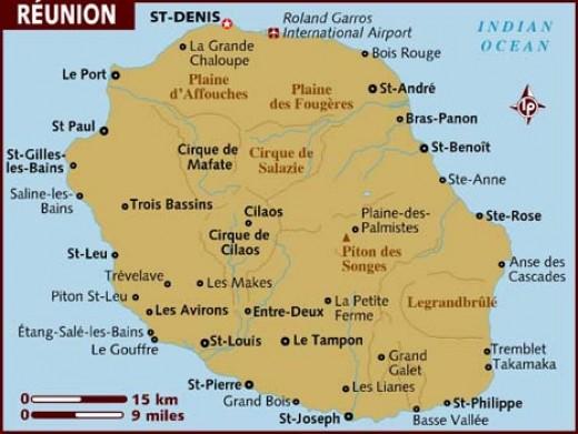 Map of Reunion island.
