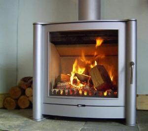 A modern wood burning stove
