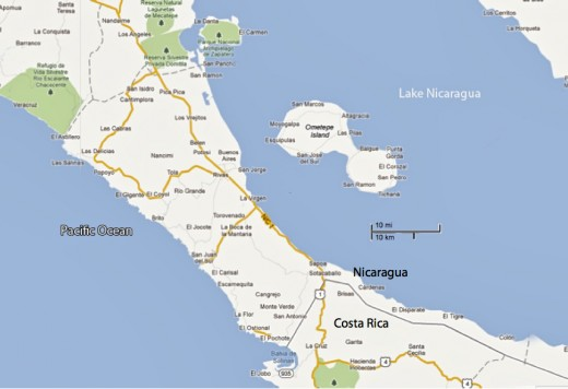 Ometepe Island is in the southwest corner of Lake Nicaragua, near the border with Costa Rica.
