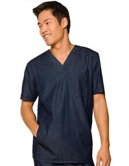 Dickies New Blue Scrubs Unisex Three Pocket V-Neck Nurse Top - Chest Pocket