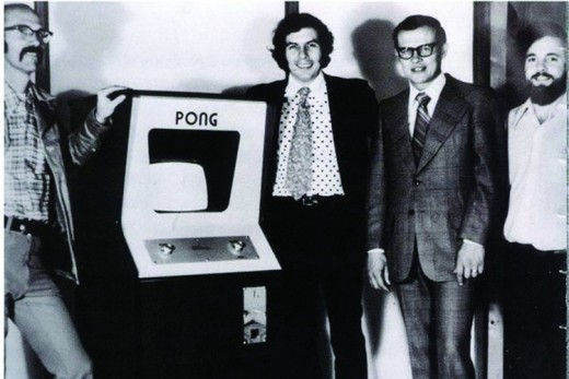 "From left:  Ted Dabney, Nolan Bushnell, Fred Marincheck, and Al Alcorn.  Marincheck was Atari's ""financial guy."""