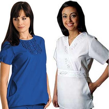 Landau Women Two Pockets Ruffle Yoke Nurse Scrub Top AND Adar Women Two Pocket Embroidered Crossover Fashion Scrub Top