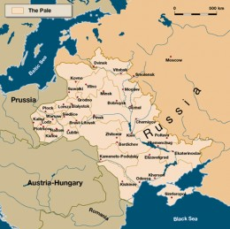 Map of the Pale of Settlement in Russia, that region where Jews were permitted to live.  Of course, though the Jewish population was centered in the Pale, some did manage to live outside its borders.