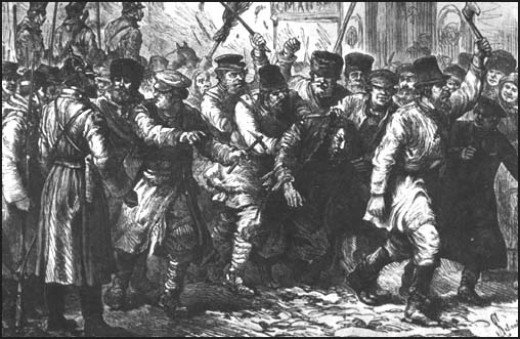 A 19th century engraving of a pogrom.