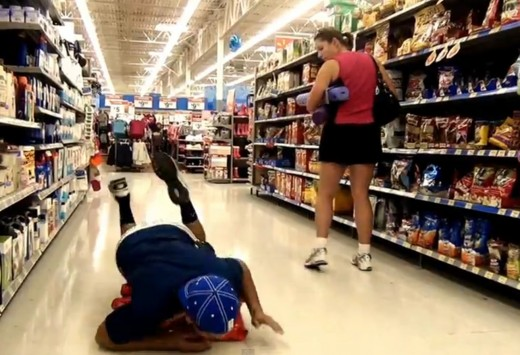Like a normal person, the shopper seems concerned about the prankster not knowing that she is being taped in a video that will be watched by millions
