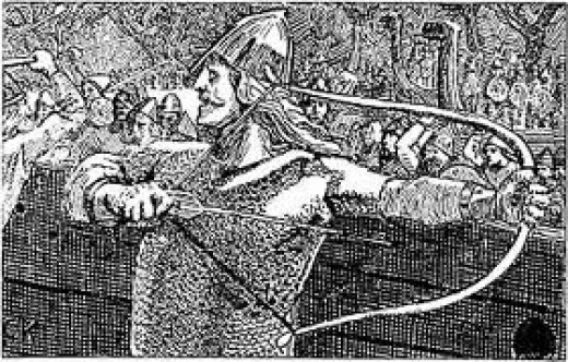 Einar Tambarskelf at the Battle of Svold on Olaf Tryggvason's ship 'Ormen Lange' (Long Serpent') was Olaf's best bowman. Norse kings recognised the importance of bowmen in battle and sometimes used them to create an arrow-storm