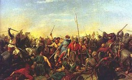 Harald Sigurdsson's end at Stamford Bridge on 25th September, 1066. As he was taller than those around him, Harald was an easy target without his chain mail for a skilled bowman - he died pierced through the throat by an arrow