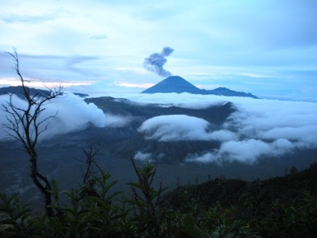 Far view of mountains, mt Batuk, Mt Bromo, Mt Sumero. At Penanjakan Viewpoint.