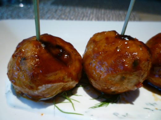 Close-up photo of the BBQ glazed pork meatballs