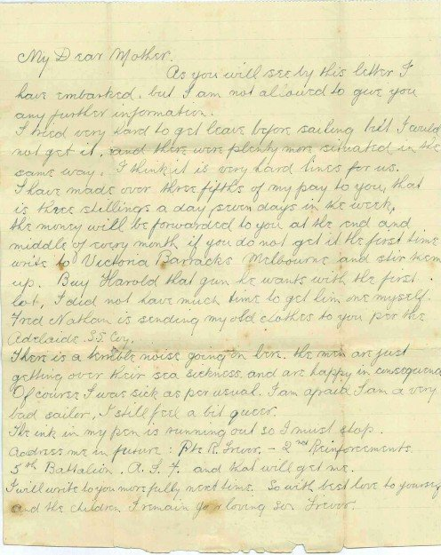 Original letter written by Reginald Trevor about his embarkation to World War One.