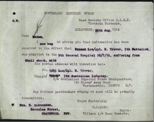 More information sent by the Victoria Barracks in Melbourne to his mother about his condition (shell shock).