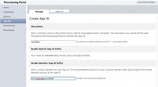 Create IOS App ID