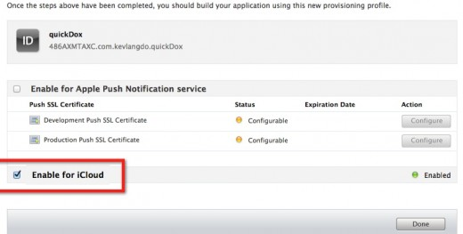 Enable iCloud in the IOS Provisioning Page