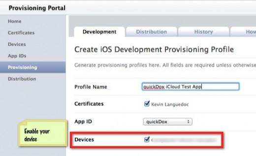 Fill in the Provisioning Profile Page