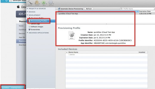 Add Provisioning Profile to XCode Organizer