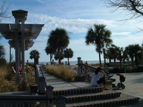 View of ocean which can be seen from swings and benches.