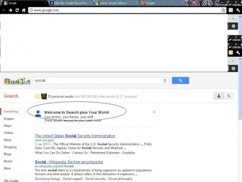 """Search plus Your World"" personalized social search screenshot"