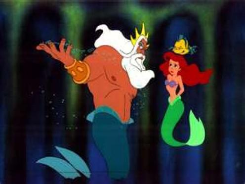 King Triton, Ariel and Flounder