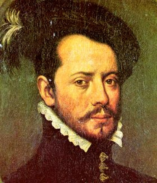 Hernan Cortes with feathers.