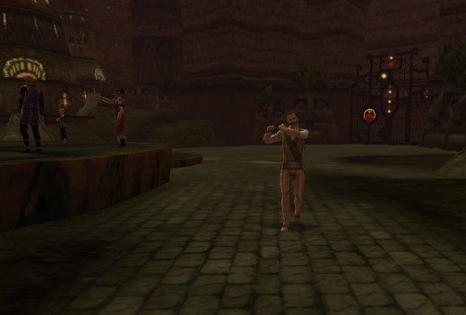 House Phiarlan piper walks the paved streets near the gate between Stormreach Marketplace and House P.