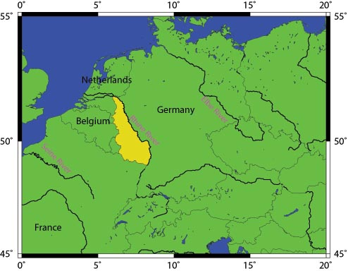 A map of Europe with the Rhineland highlighted in yellow.