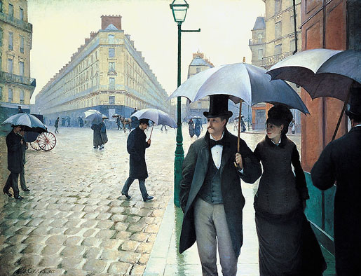 Caillebotte's Paris, 1877, note the streetlamp