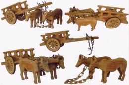 Bulls and bullock carts-many  jointless wood sculptures.