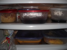 Plastic containers in the fridge.