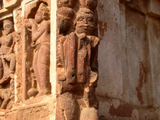 Terracotta work at the corner of the temple, called the BARSHAA art