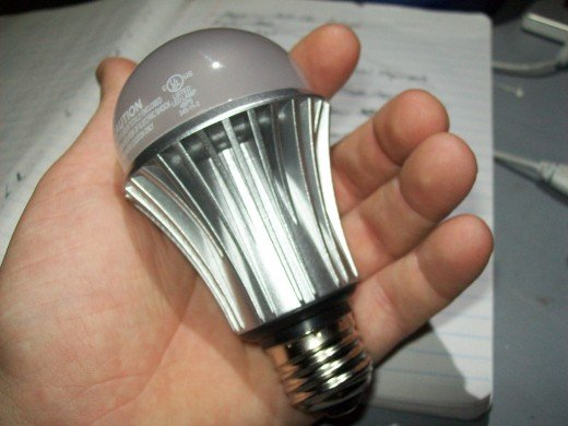 Notice the large heatsink built into the body of this led.  The fins around the side disperse heat into the air, away from the bulb.
