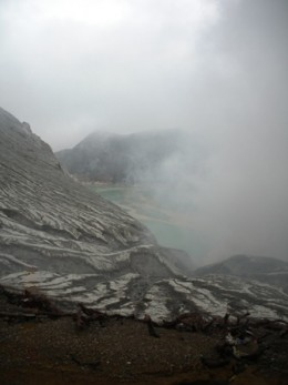 View on the smoky lake from the summit.