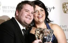James Corden and Ruth Jones at the BAFTA Awards after winning for Best Series.