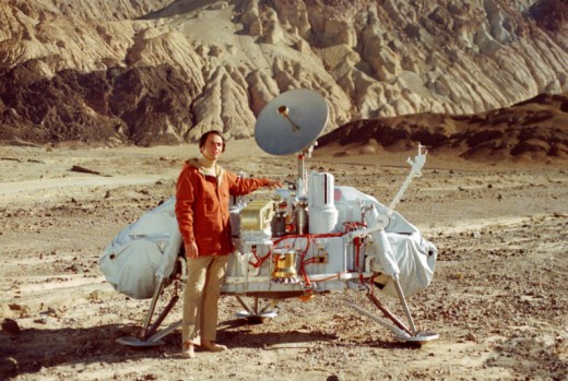 "Carl Sagan worked hard.  All it got him was this obviously Photoshopped picture of him on ""Mars.""  We all know Mars is the Roman God of War, not a place in the sky."