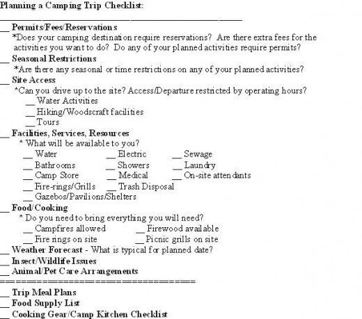 Snapshot of the page-formatted Planning a Camping Trip Checklist