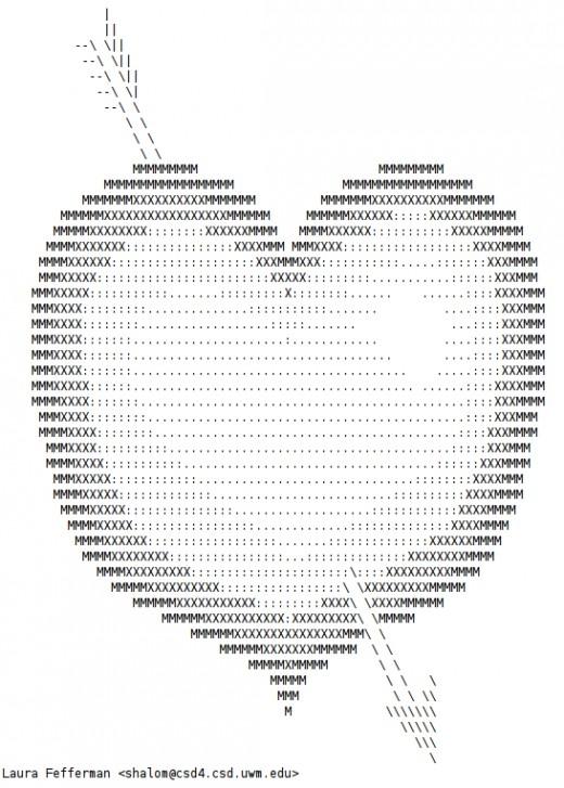 One Line Ascii Art Hearts : See all photos