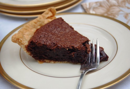 This is not my photo. I never get a photo of my fudge pie because it's gone way too fast!
