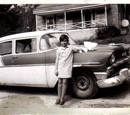 My old 56 Chevy and my youngest  sister Donna, a picture saved in mama's cedar chest.
