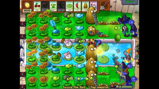 Plants vs. Zombies: survival endless, you have huge waves of zombies coming at your house.