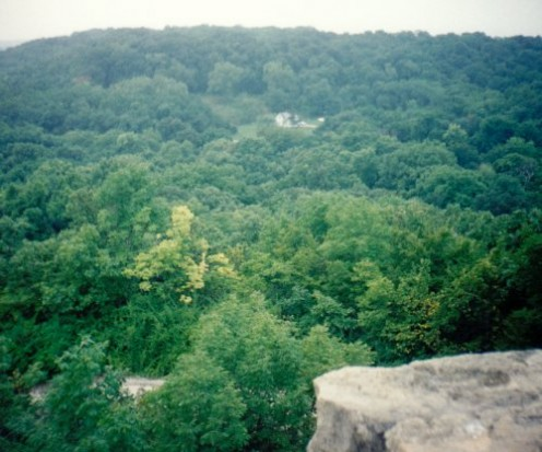 Looking south across the Middle River Valley from the top of the tower.  In the lower left corner is the road through more woods back to the main part of Winterset City Park.