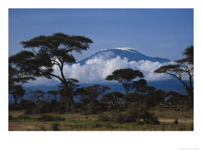 Mt Kilimanjaro viewed from the savannah planes which Surround it.