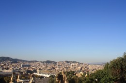Magic Fountain of Montjuic Surroundings, Panorama Views at Daytime, Barcelona, Spain