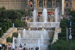 Magic Fountain of Montjuic at Daytime, people waiting for the magic Fountain Show, Barcelona, Spain