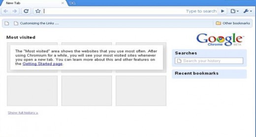 Google Chrome picture after first start up